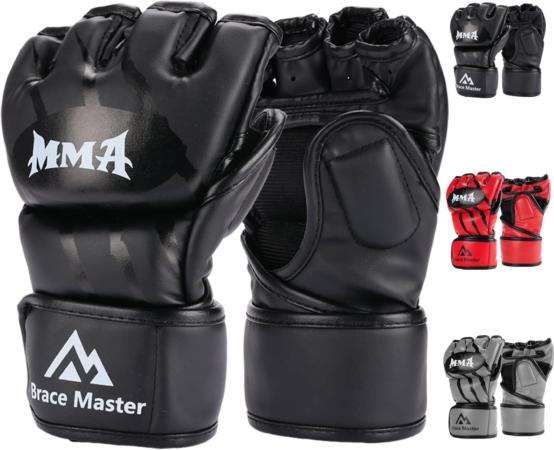 Brace Master MMA Gloves UFC Fingerless Punching Bag Gloves