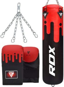 RDX Punching Bag UNFILLED Set Muay Thai Training Gloves with Punch Mitts Hanging Chain